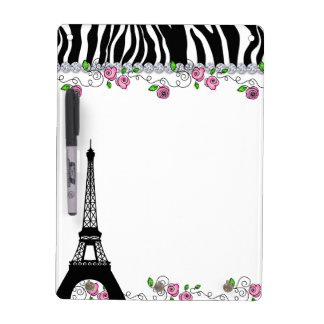 Paris Eiffel Tower Zebra White Board Pink Roses