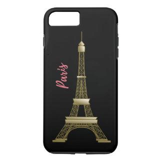 Paris Eiffle Tower Pink and Gold Black iPhone 8 Plus/7 Plus Case