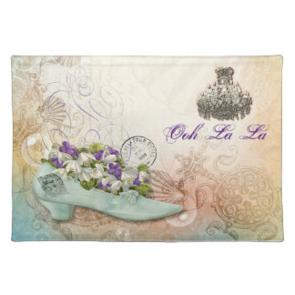 Paris etchings chandelier flowers placemat
