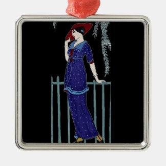 Paris fashion 1920s elegant lady metal ornament