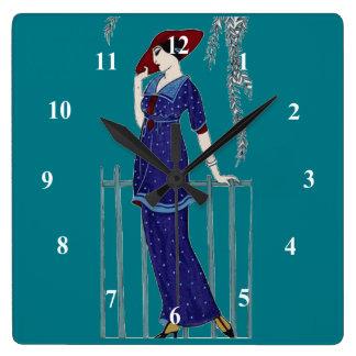 Paris fashion 1920s elegant lady square wall clock
