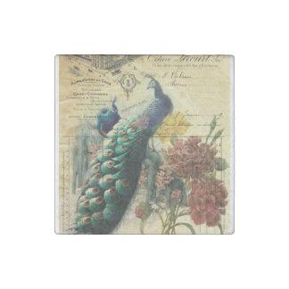 paris fashion girly flower vintage peacock stone magnet