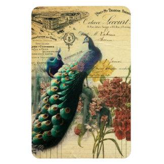 paris fashion girly flower vintage peacock rectangular magnet