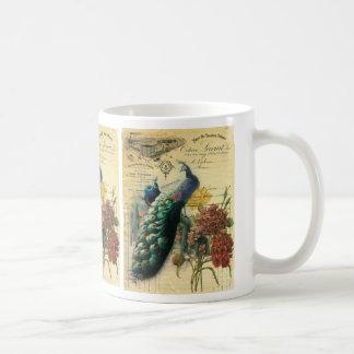 paris fashion girly vintage peacock floral mug