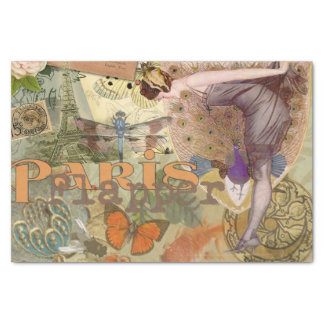 Paris Flapper Vintage Art Deco Lady Peacock Tissue Paper
