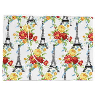 Paris Floral Eiffel Tower on White Large Gift Bag