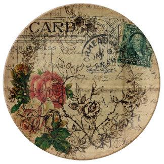 Paris Flower Postage Designer Plate