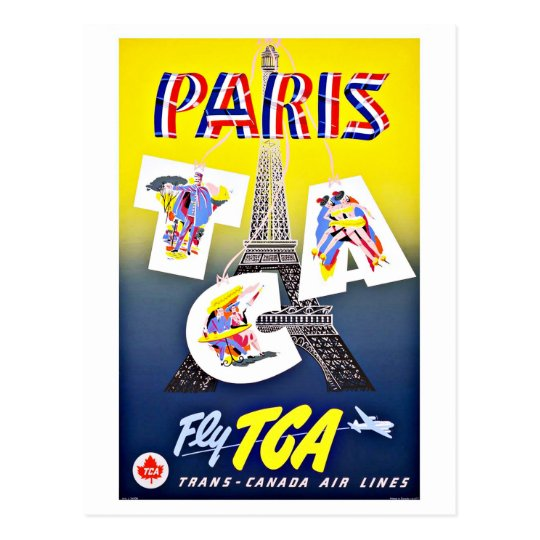 Paris Fly with Canada Airlines Postcard