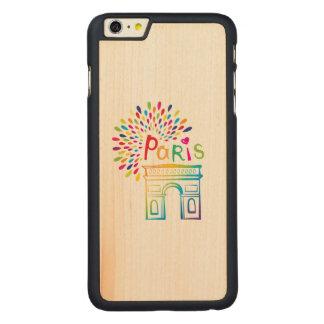 Paris France | Arc de Triomphe | Neon Design Carved Maple iPhone 6 Plus Case