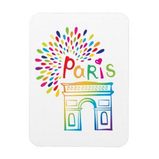 Paris France | Arc de Triomphe | Neon Design Rectangular Photo Magnet