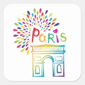 Paris France | Arc de Triomphe | Neon Design Square Sticker