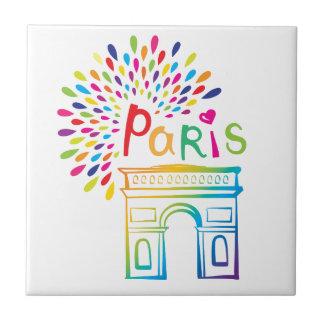 Paris France   Arc de Triomphe   Neon Design Tile