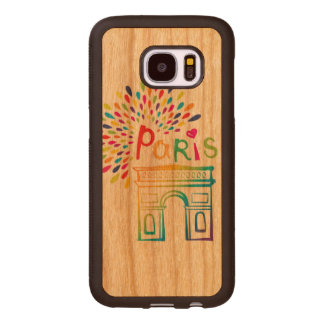Paris France | Arc de Triomphe | Neon Design Wood Samsung Galaxy S7 Case