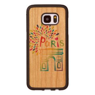 Paris France | Arc de Triomphe | Neon Design Wood Samsung Galaxy S7 Edge Case