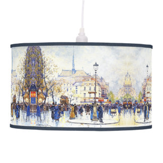 Paris France City Street Scene People Lamp