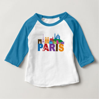 Paris, France | Colorful Typography Baby T-Shirt