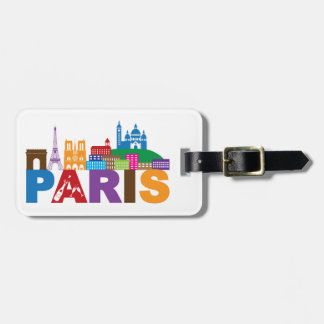 Paris, France | Colorful Typography Luggage Tag