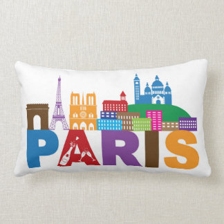 Paris, France | Colorful Typography Lumbar Pillow