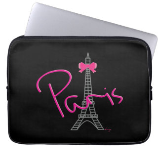 Paris France Eiffel Tower Black Cool Graphic Laptop Sleeve