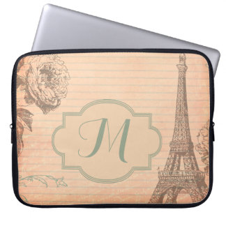"Paris France Eiffel Tower Monogram 15"" Laptop Case"