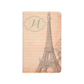 Paris France Eiffel Tower Monogram Initial Journal