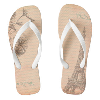 Paris France Eiffel Tower Shabby Flip Flop Sandals