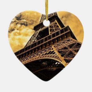 Paris France Eiffel Tower Sunset Ceramic Heart Ornament