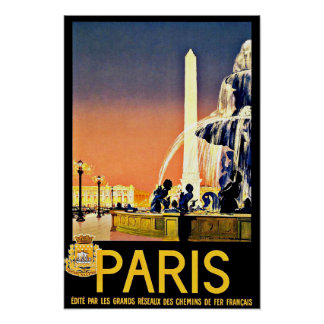 Paris France Fountain Vintage Travel Poster