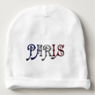 Paris France French Flag Colors Typography Baby Beanie