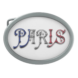 Paris France French Flag Colors Typography Belt Buckle