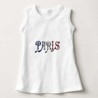 Paris France French Flag Colors Typography Dress