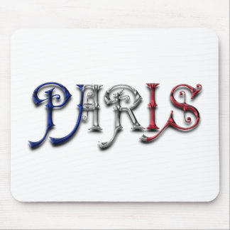 Paris France French Flag Colors Typography Mouse Pad