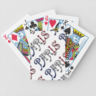 Paris France French Flag Colors Typography Poker Deck