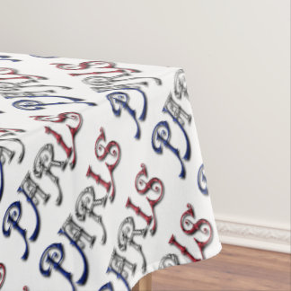 Paris France French Flag Colors Typography Tablecloth