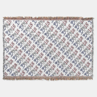 Paris France French Flag Colors Typography Throw Blanket