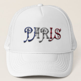 Paris France French Flag Colors Typography Trucker Hat