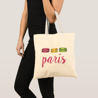 Paris France French Food Pink Macaron Cookies Tote Bag
