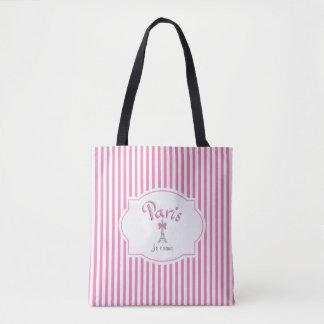 Paris, France, Je t'aime, Pink Stripes Tote Bag