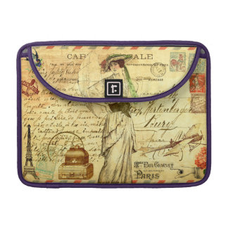 Paris France journey diary vintage collage old Sleeves For MacBook Pro