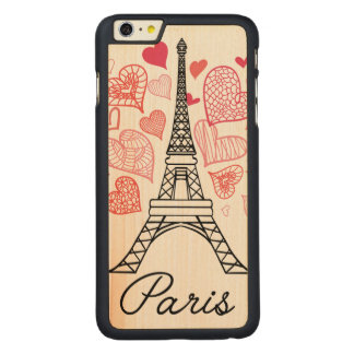Paris, France Love Carved Maple iPhone 6 Plus Case