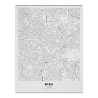 Paris, France Minimalist Map Poster (Style 2)