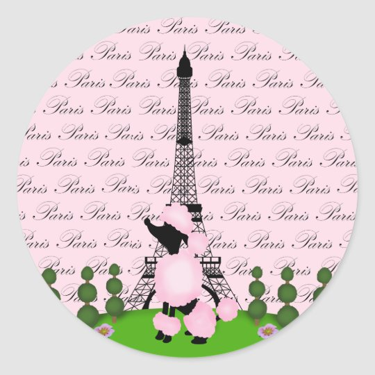 Paris France Poodle Classic Round Sticker
