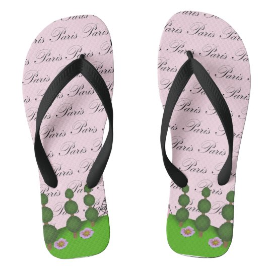 Paris France Poodle Flip Flops