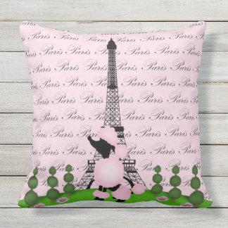 Paris France Poodle Outdoor Pillow