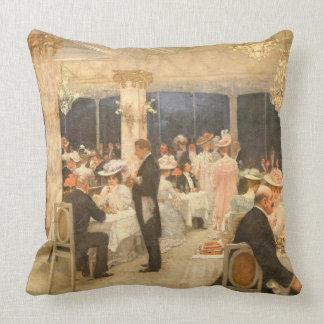 Paris France Restaurant Soiree 1905 Throw Pillow