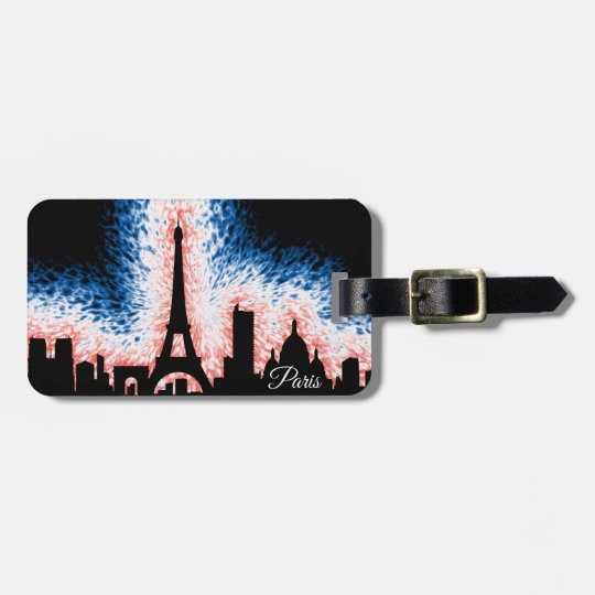 Paris France Silhouette Bag Tag