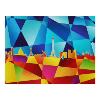 Paris France Skyline Cityscape Poster
