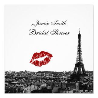 Paris France Skyline Kiss 1 BW Bridal Shower Personalized Invite