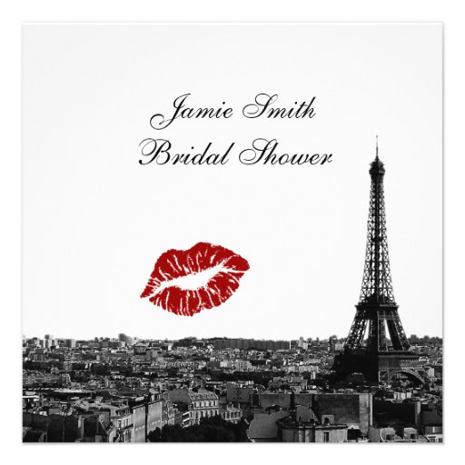 Paris France Skyline Kiss #1 BW Bridal Shower Personalized Invite