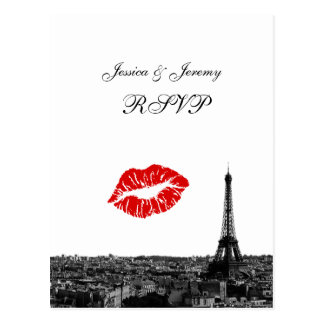 Paris France Skyline Kiss #1 BW RSVP 1 Postcard